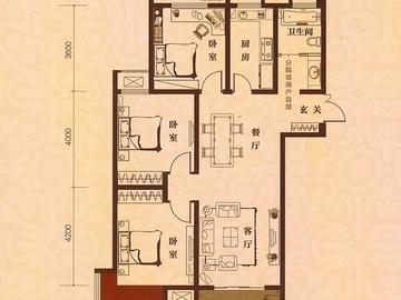 3室2厅1卫 111平米